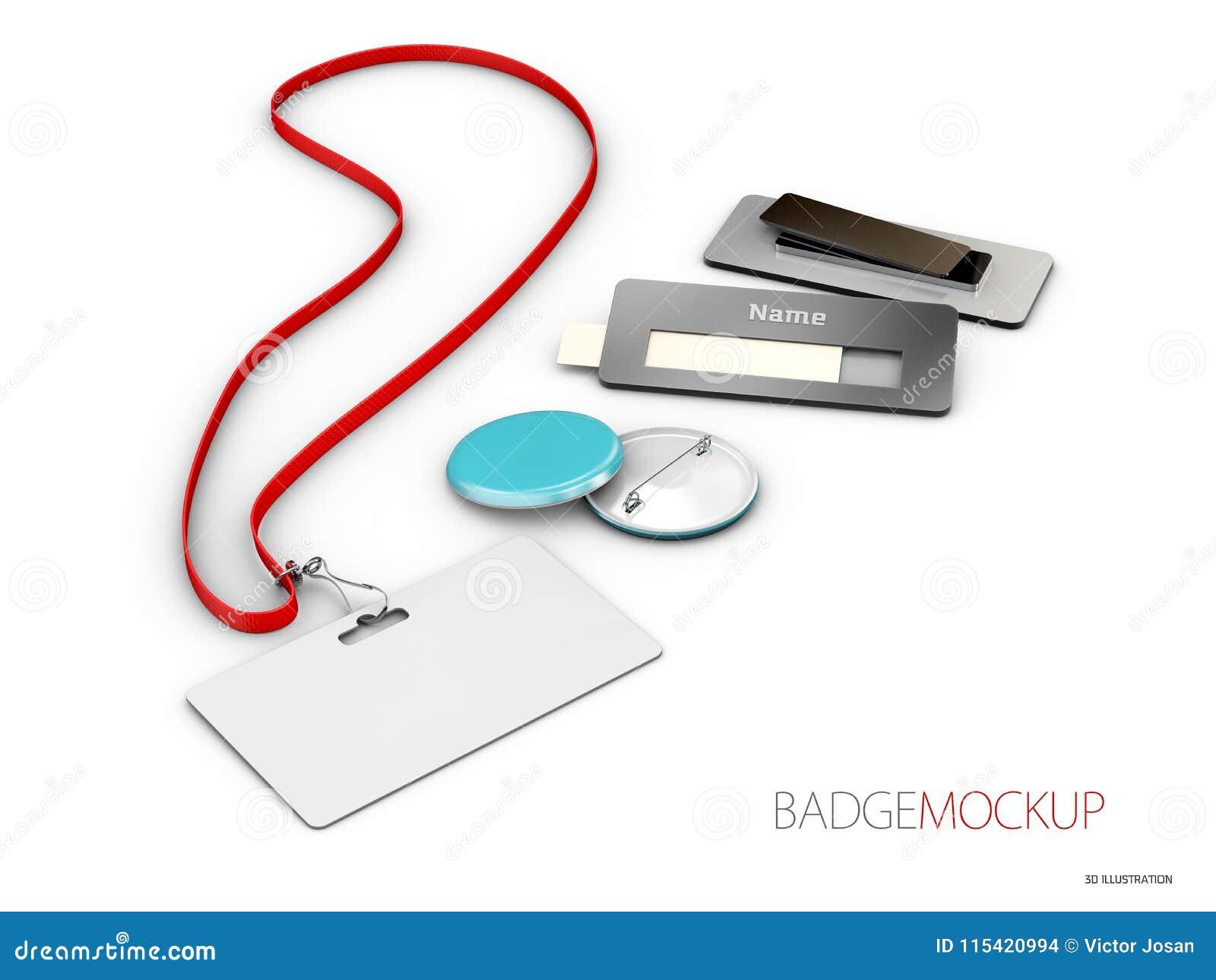 Lege witte en rode kentekens Speldknoop 3d Illustratie realistisch model