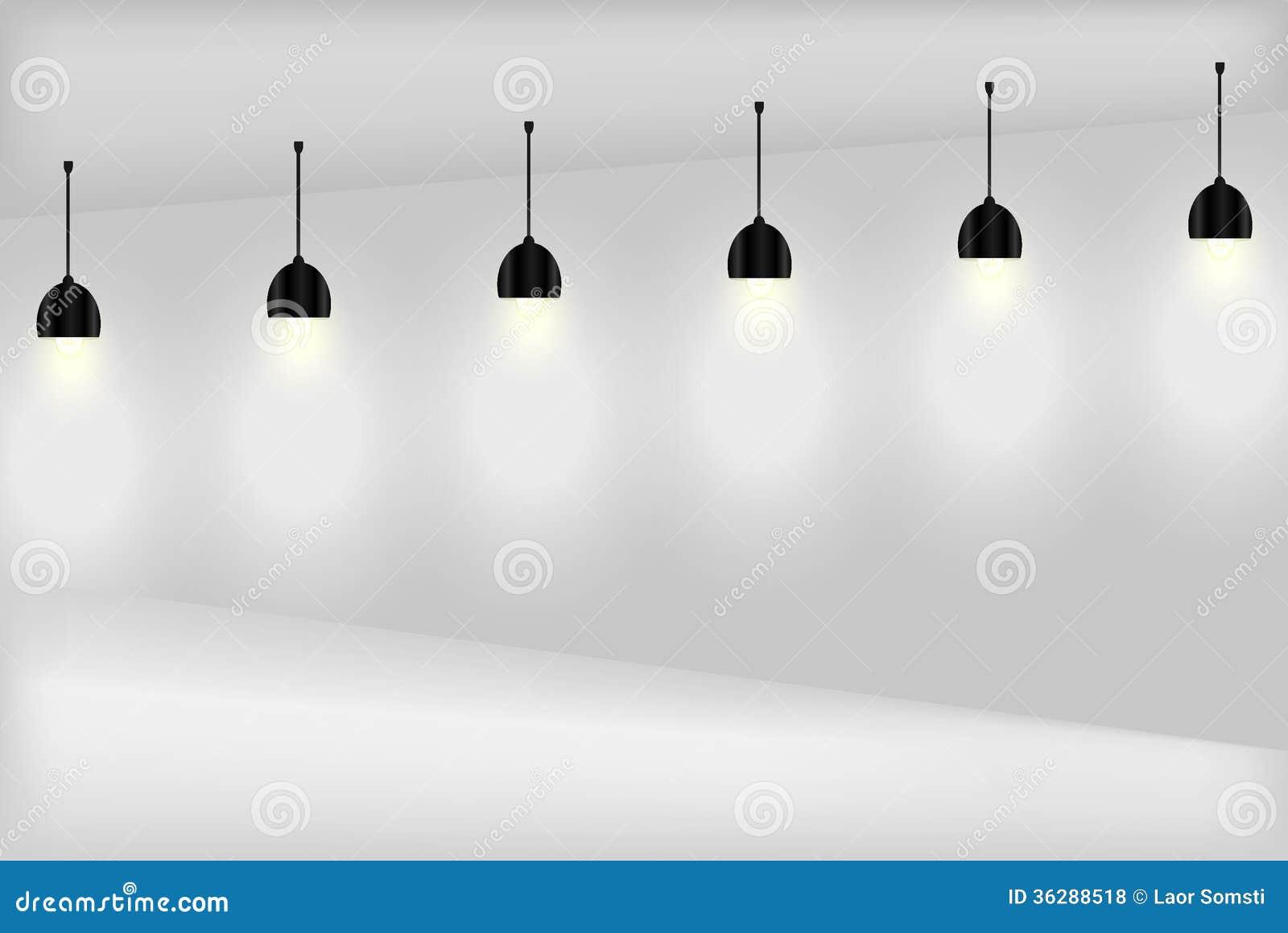 Lege witte muur met lampen royalty vrije stock foto 39 s afbeelding 36288518 - Binnenkleuren met witte muur ...