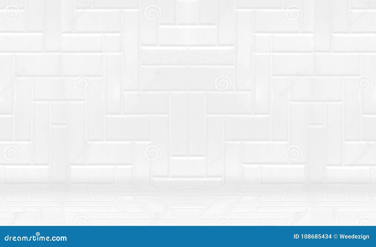 Lege witte schone keramische tegelmuur en Minimale vloerachtergrond,