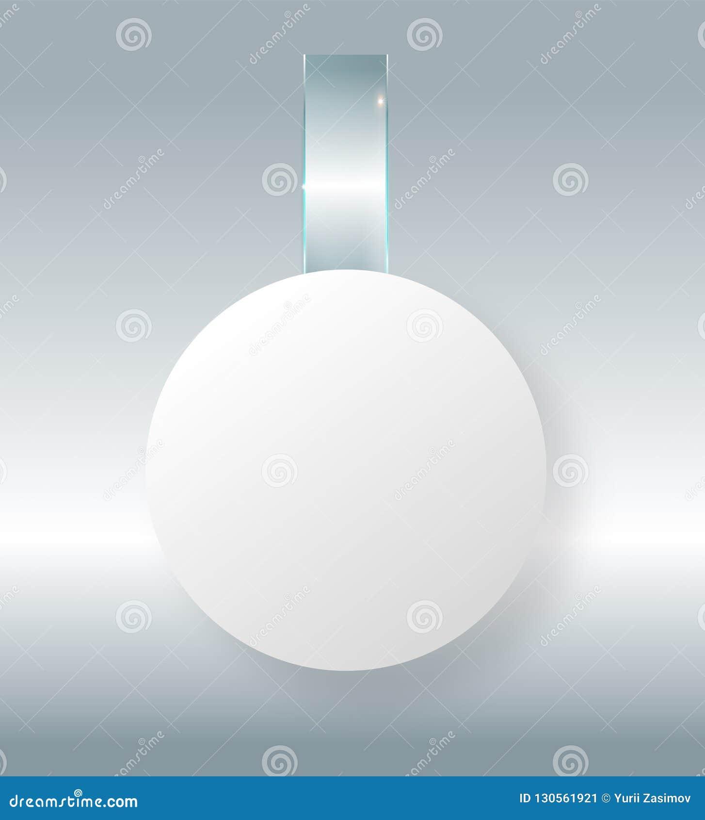 Lege witte wobbler hangt omhoog op muurspot, het 3d teruggeven Ruimte rond document model op plastic transparante strook ontruim