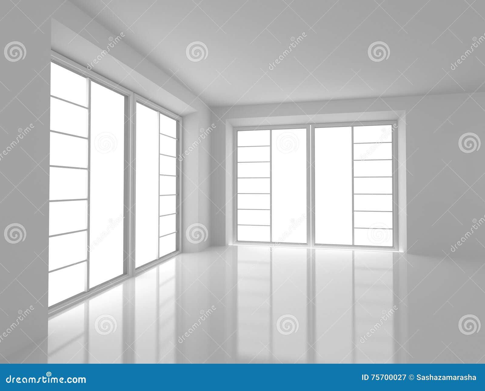 Lege Witte Zaal met Grote Vensters