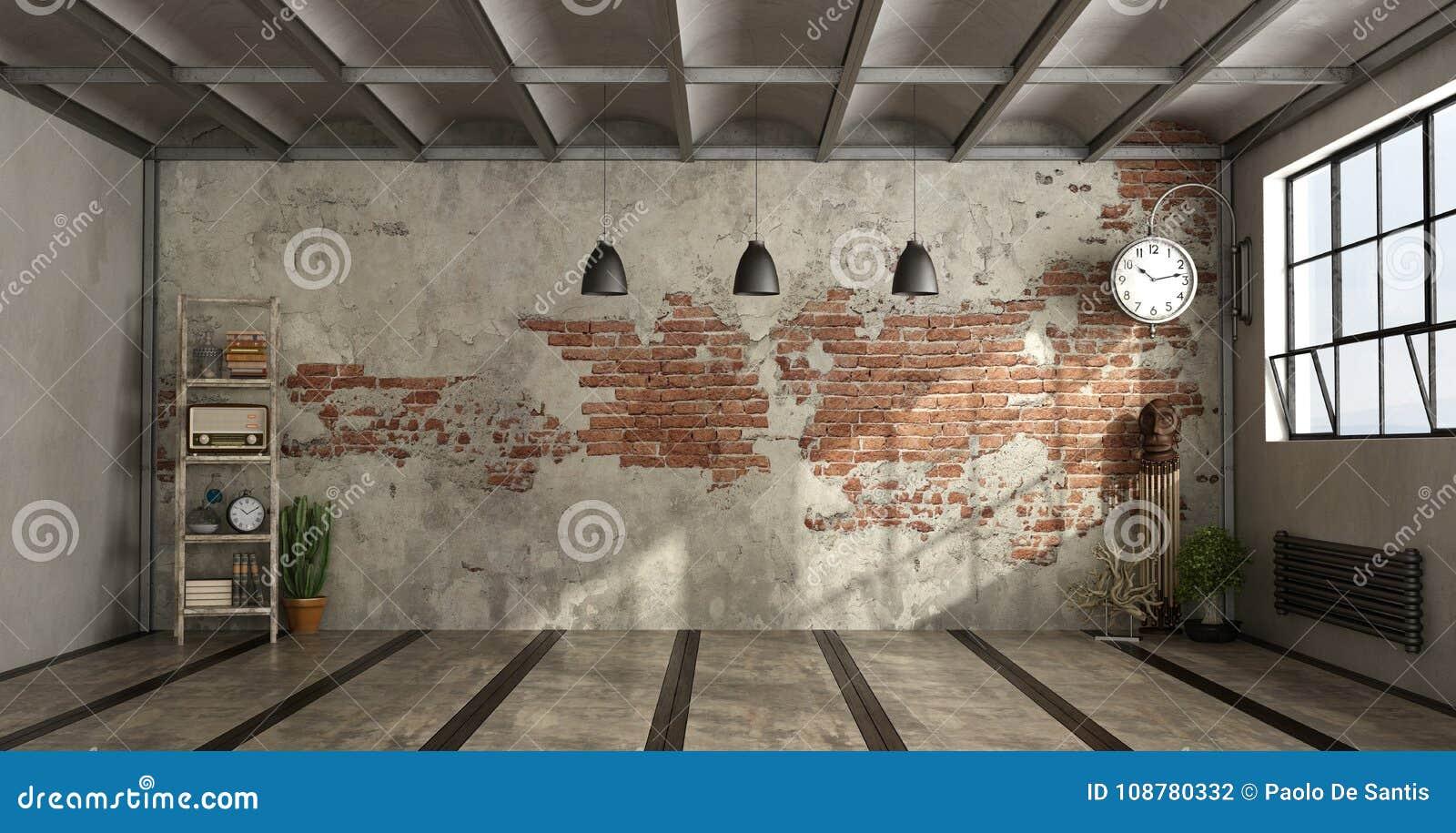 Industriele Loft Woonkamer : Lege woonkamer in industriële stijl stock illustratie