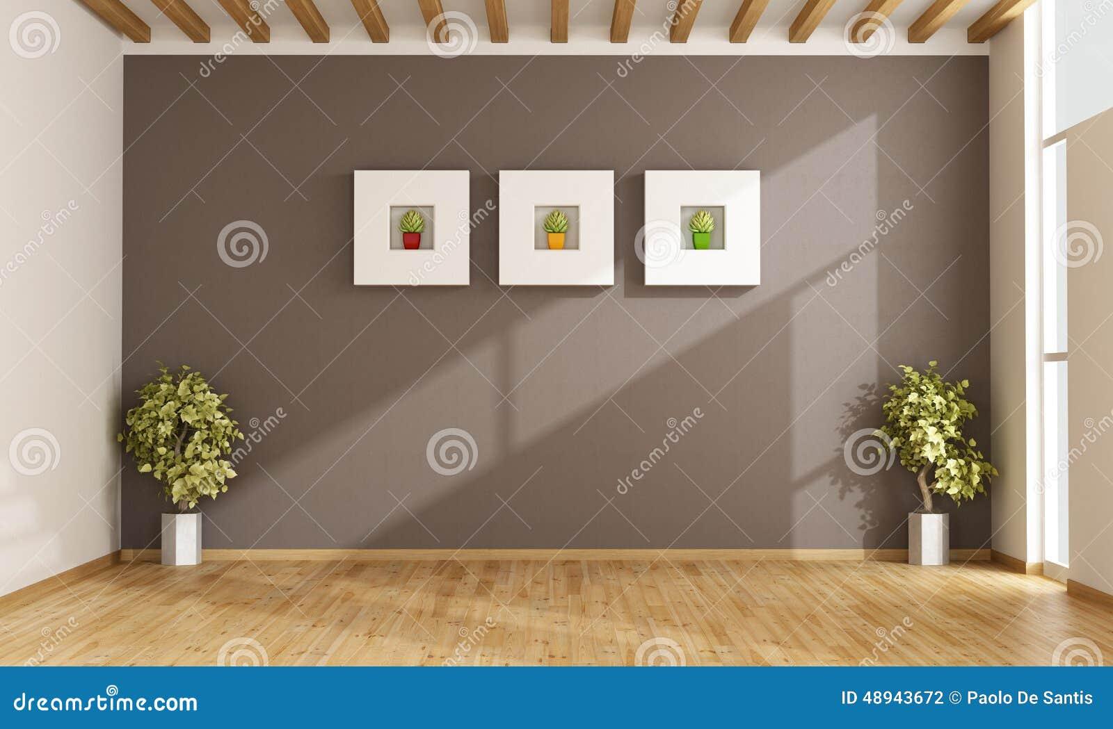 Lege Woonkamer Met Bruine Muur Stock Illustratie - Illustratie ...