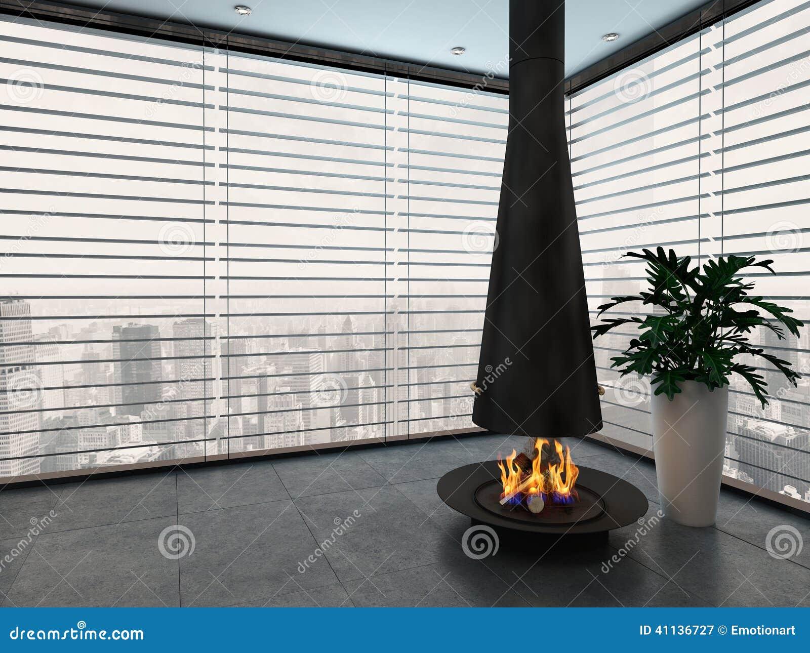 Lege woonkamer met moderne open haard stock illustratie