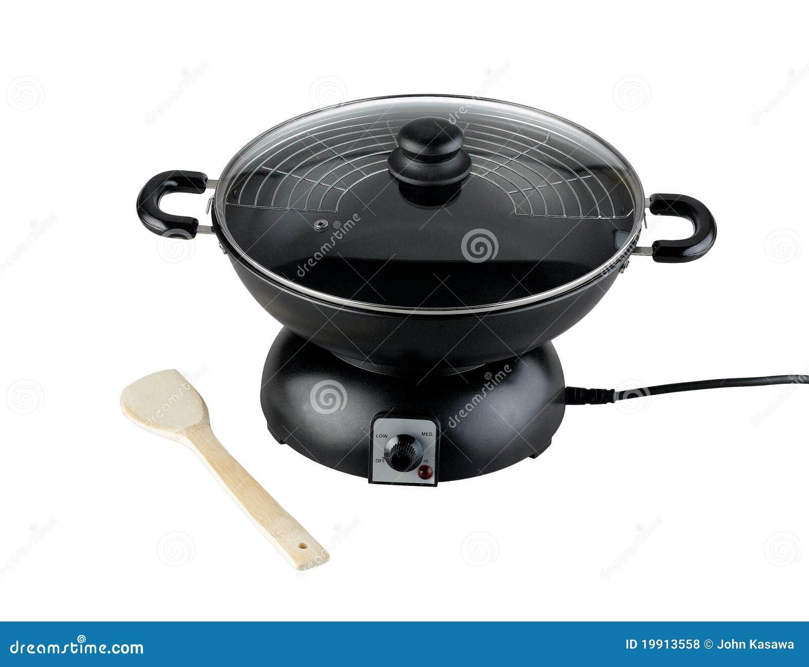 Lege Zwarte Elektrische Pan Stock Foto Afbeelding