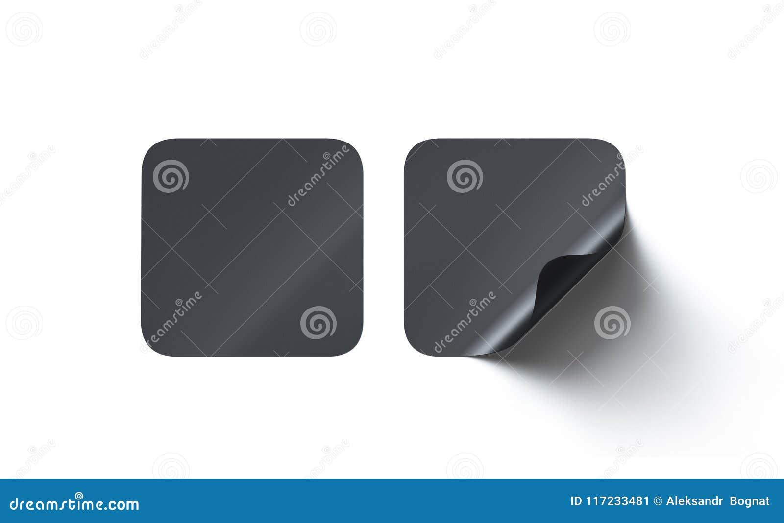 Lege zwarte vierkante zelfklevende stickersspot omhoog met gebogen