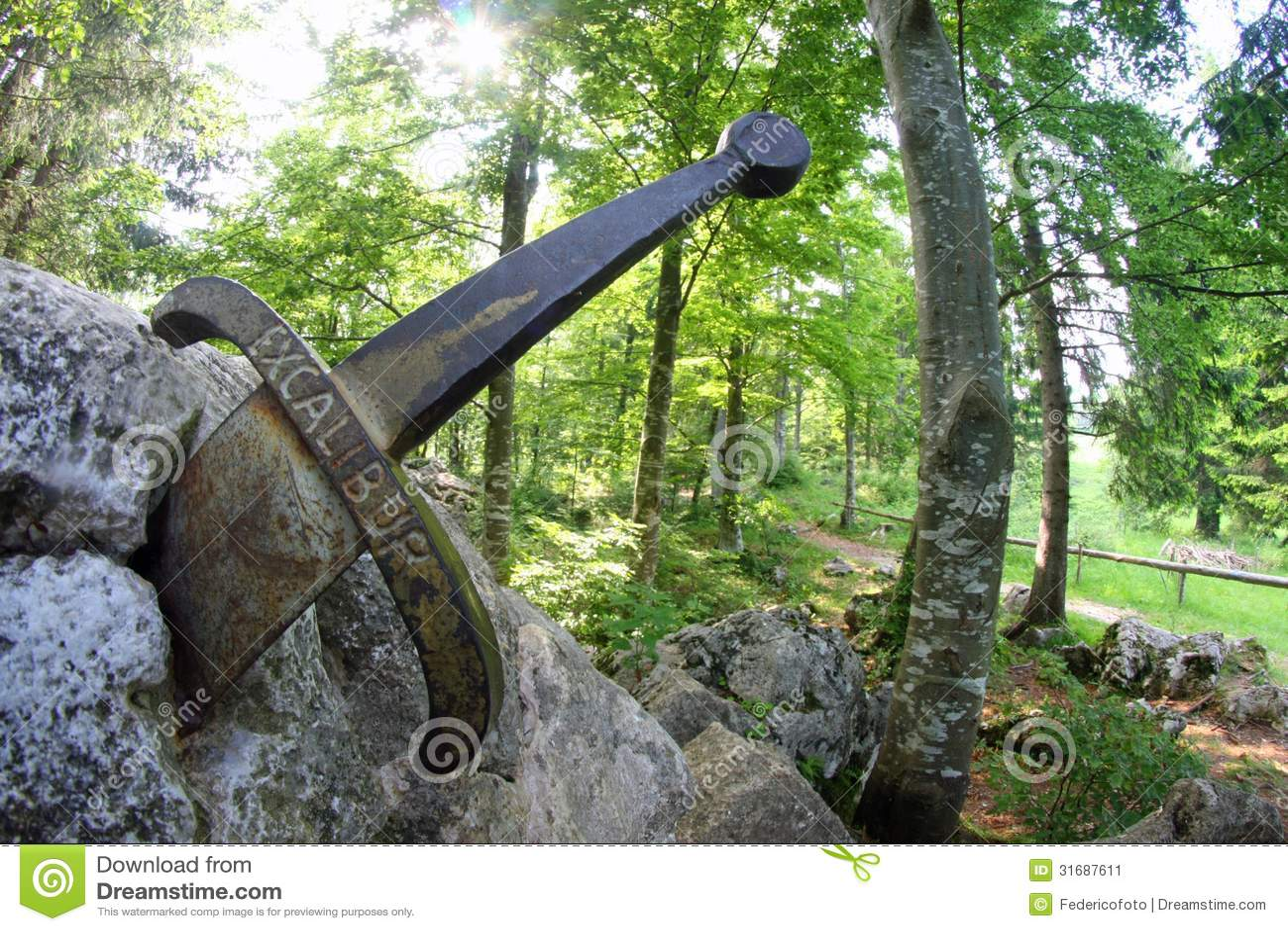 Legendary Sword Excalibur To King Stuck Between The R Stock Image