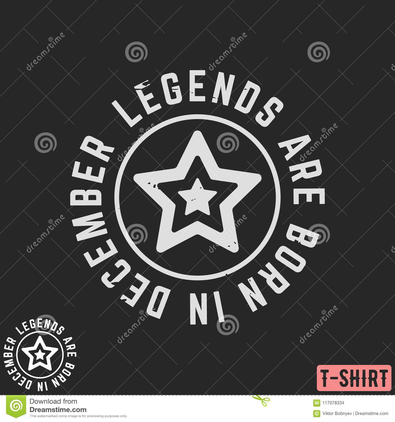 Legends Are Born In December Vintage T-shirt Stamp Stock Vector