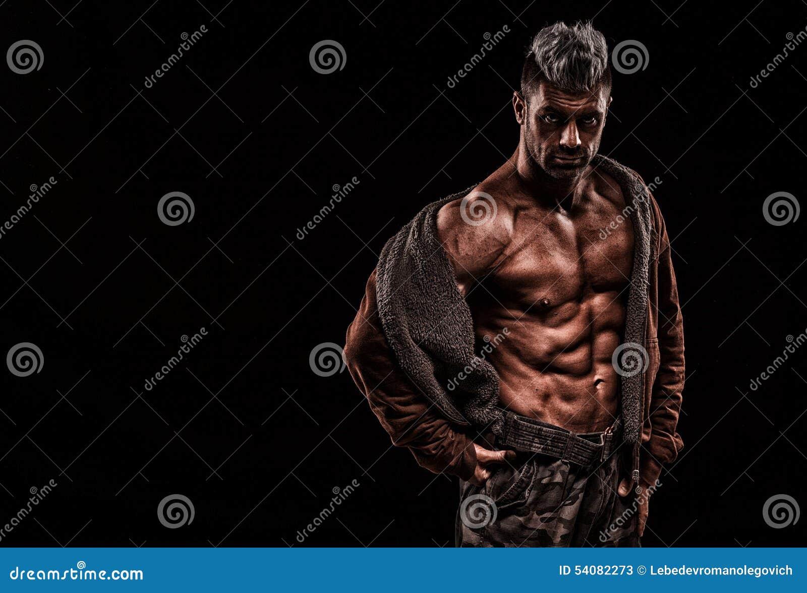 Leger, militaire, sterke mens, gewichten, het uitoefenen, gymnastiek