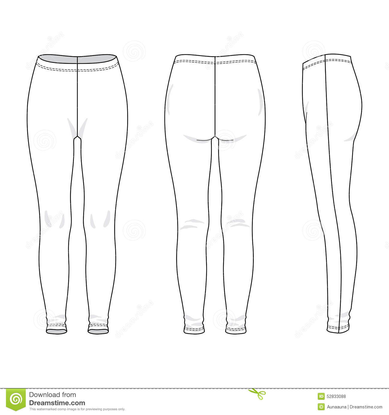 Blank women's leggings in front, back and side views. Vector ...