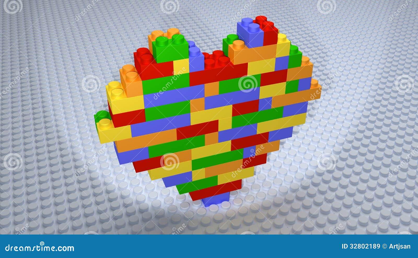 Lego - Colourful Kierowe cegły Budować na biel bazie