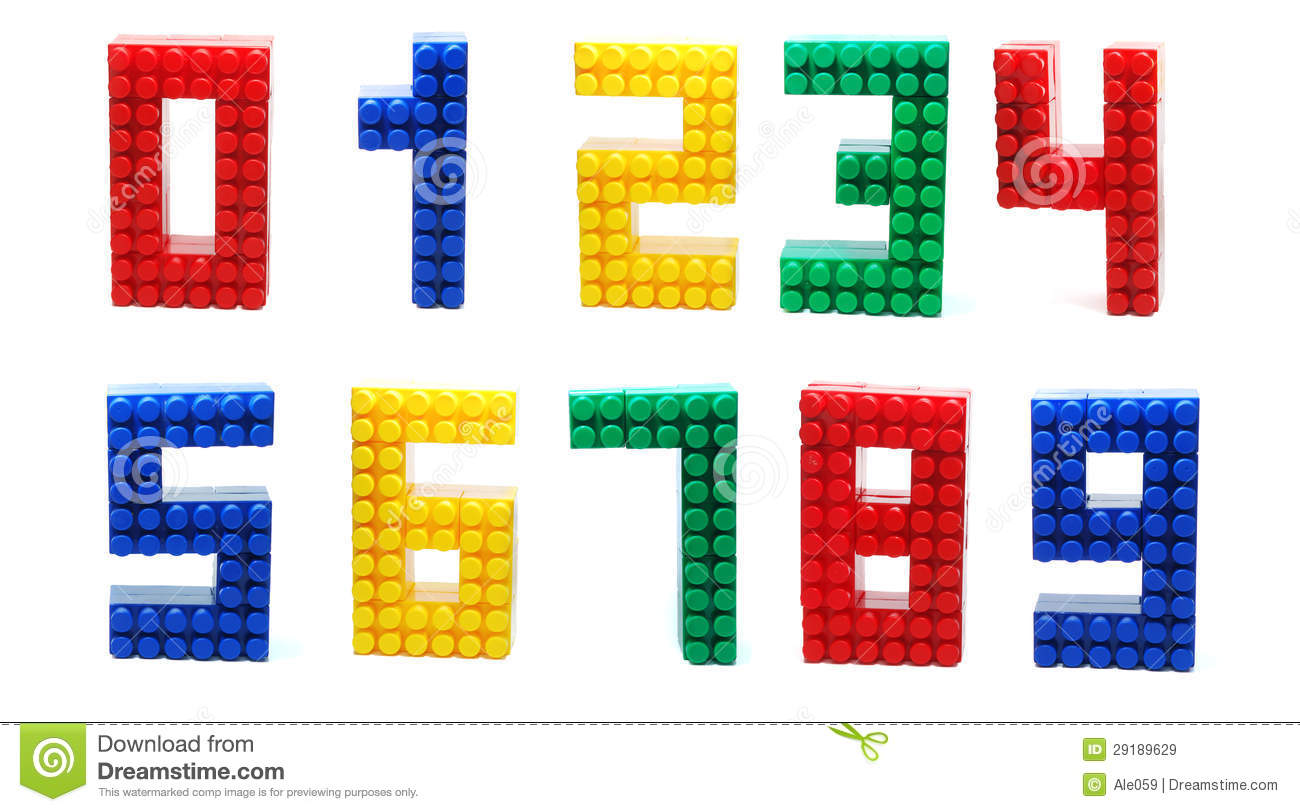 Colored Digits Set made of Plastic Toy Blocks (Lego) Isolated on White ...