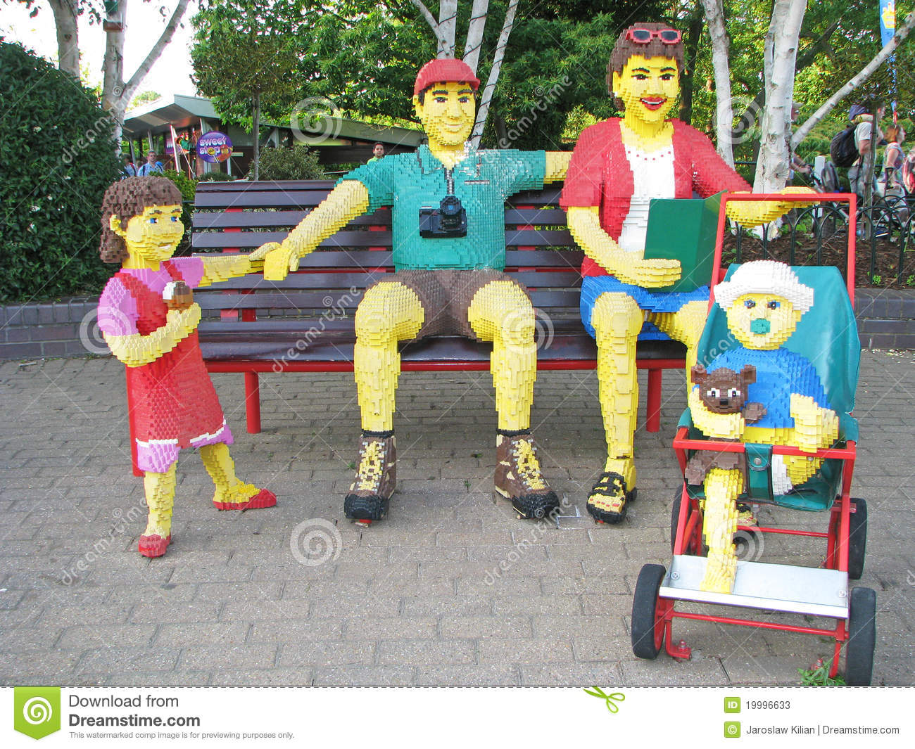 Family made with lego bricks. Part of exhibition at Legoland Windsor ...