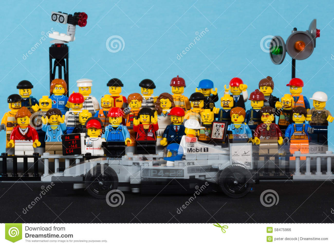 lego formule 1 race car moving in front of audience editorial photo image 58475966. Black Bedroom Furniture Sets. Home Design Ideas