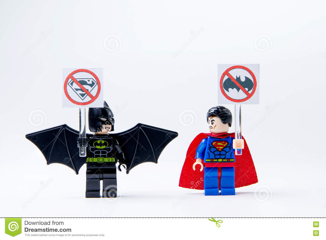 Commercial Foosball Table Used LEGO Minifigure Batman And Superman . Editorial Photography - Image ...
