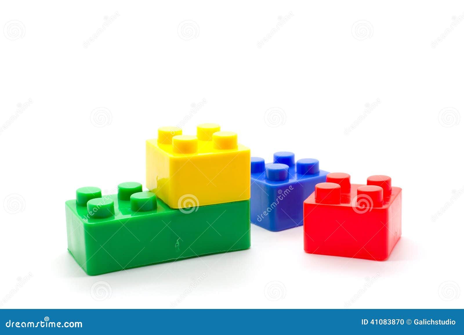 Lego Plastic Building Blocks On White Background Stock Photo - Image