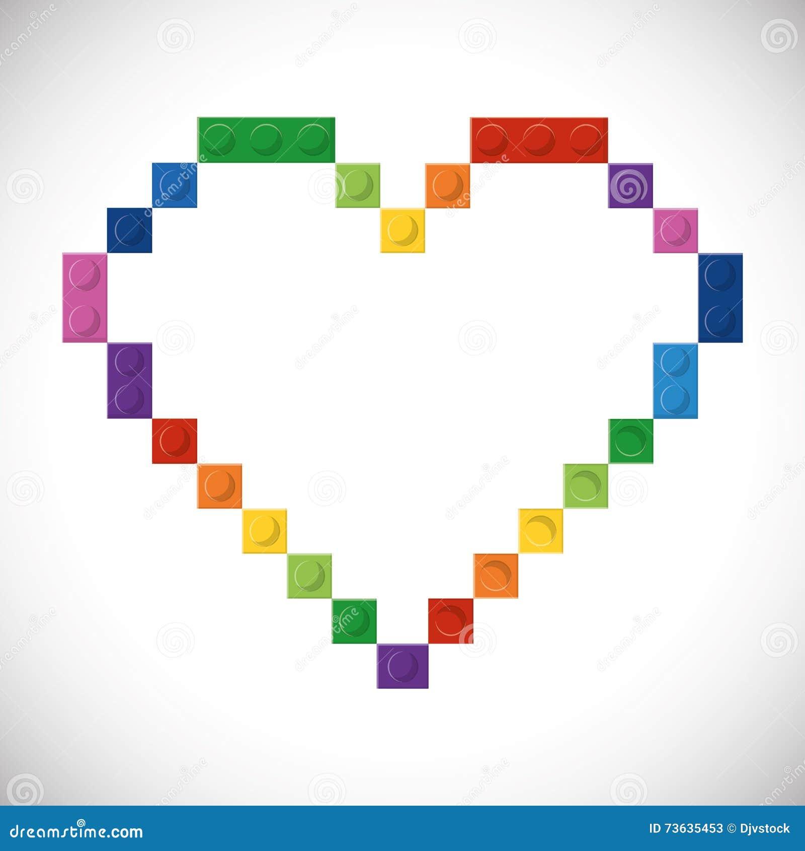 Legopictogram Abstract hartcijfer Grafische vector