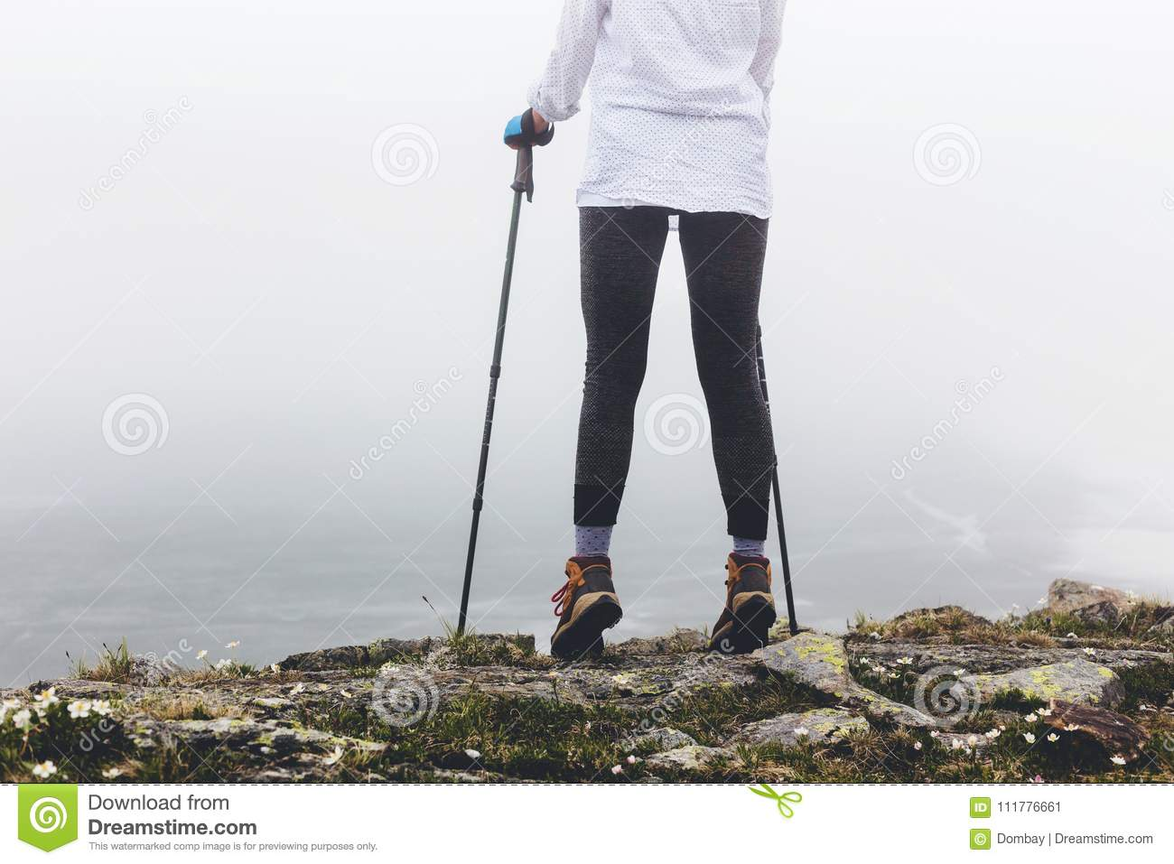 Legs of a girl during a walk.