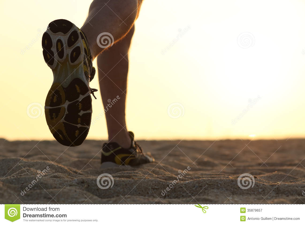 Legs And Shoes Of A Man Running At Sunset Royalty Free ...