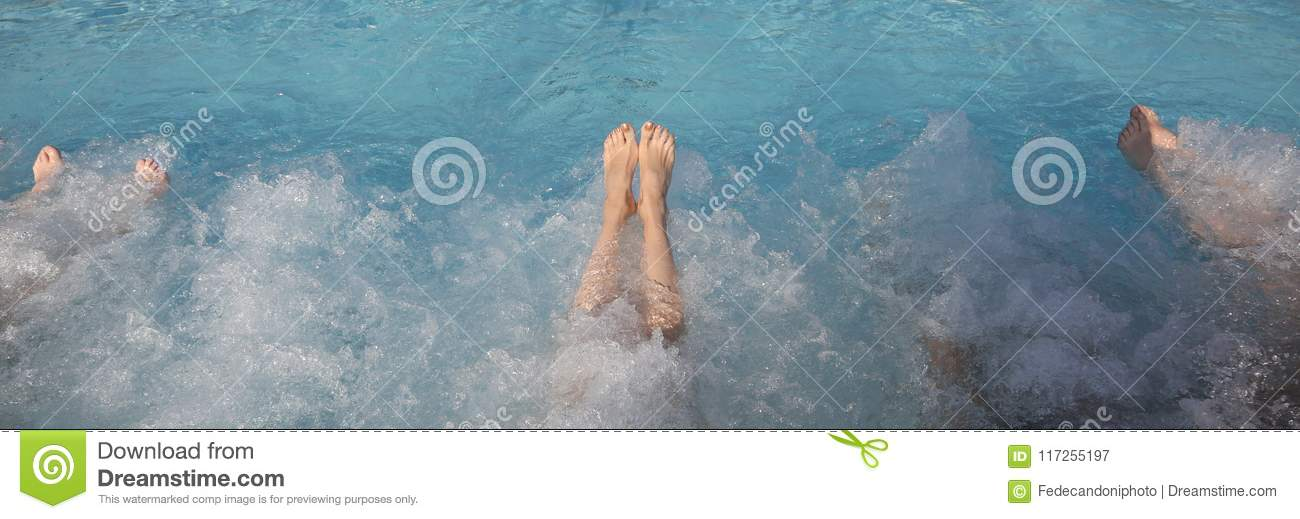 Legs During The Whirlpool Therapy In The Pool Stock Image - Image of ...