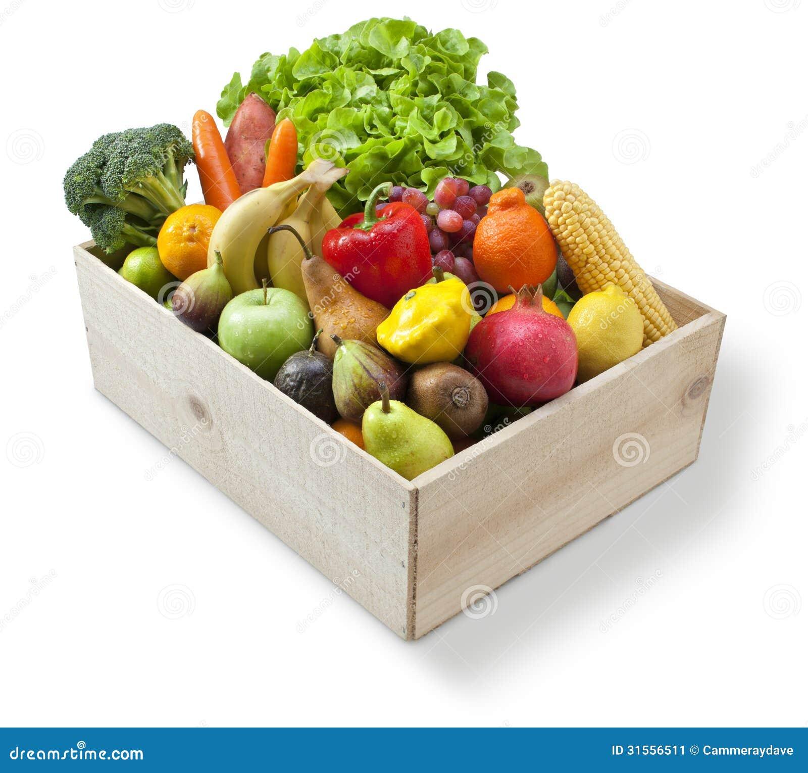 Legumbres de fruta fresca de madera del cajón