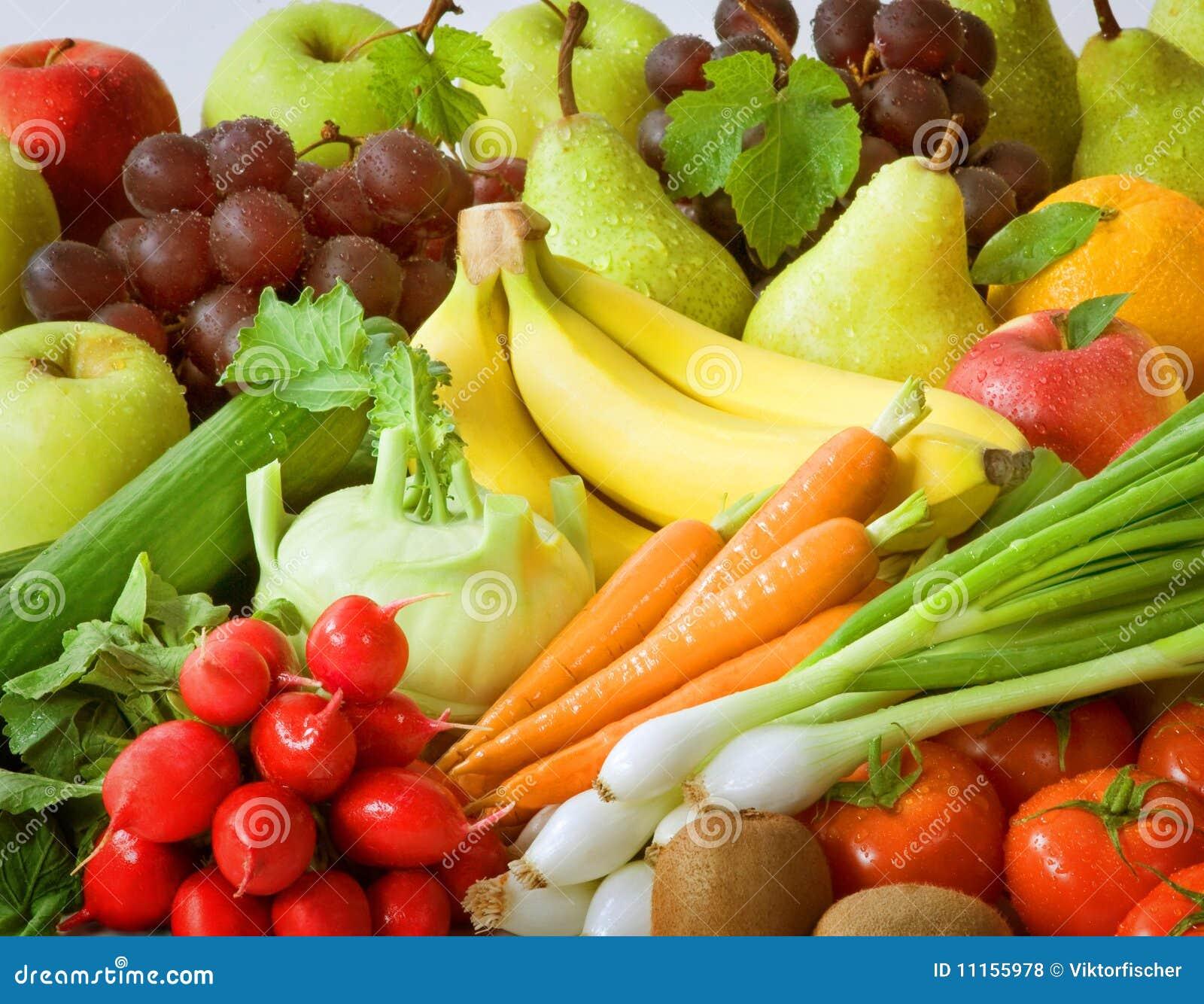 Legumes frescos e fruta