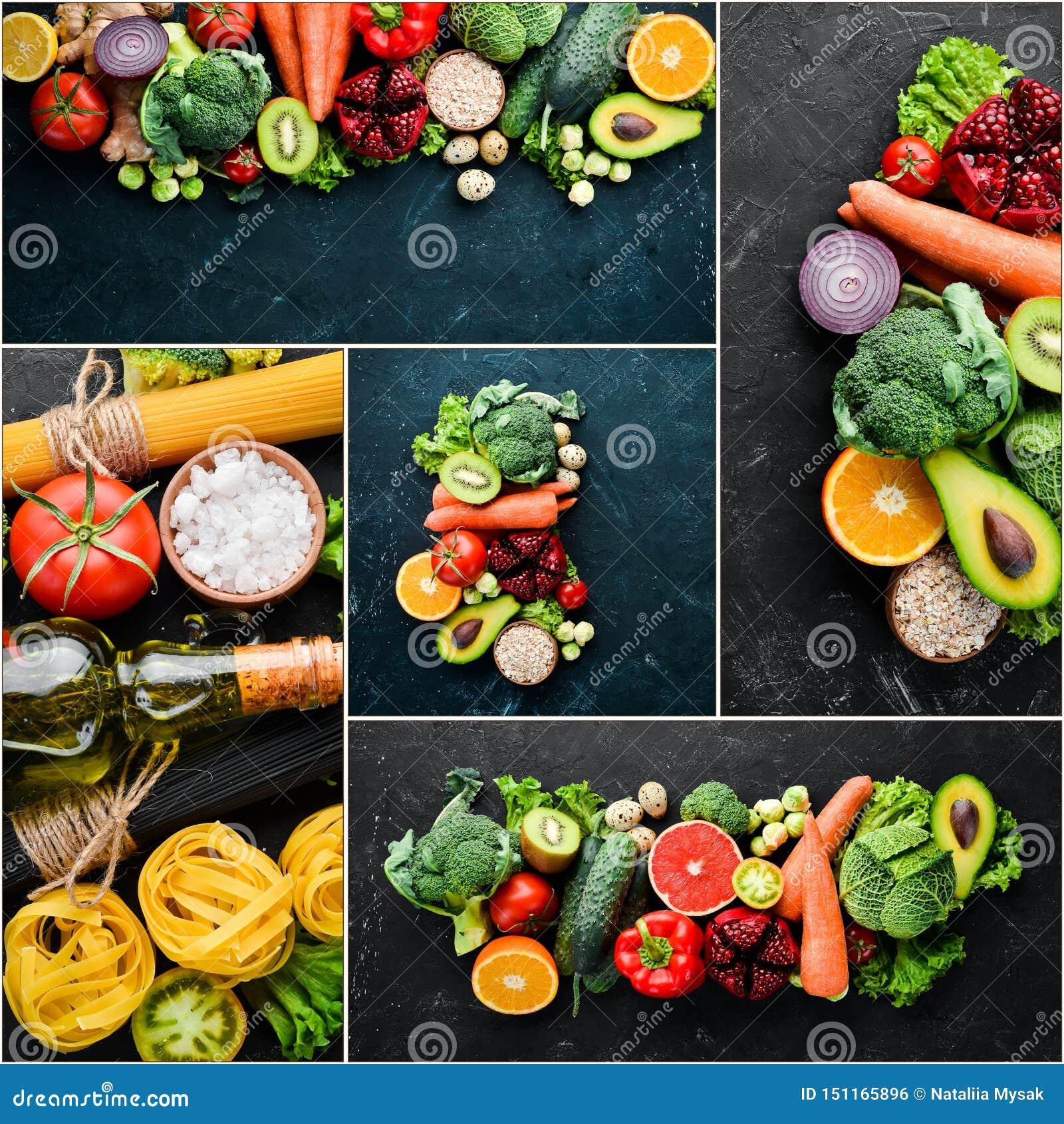 Legumes frescos e frutos da colagem da foto
