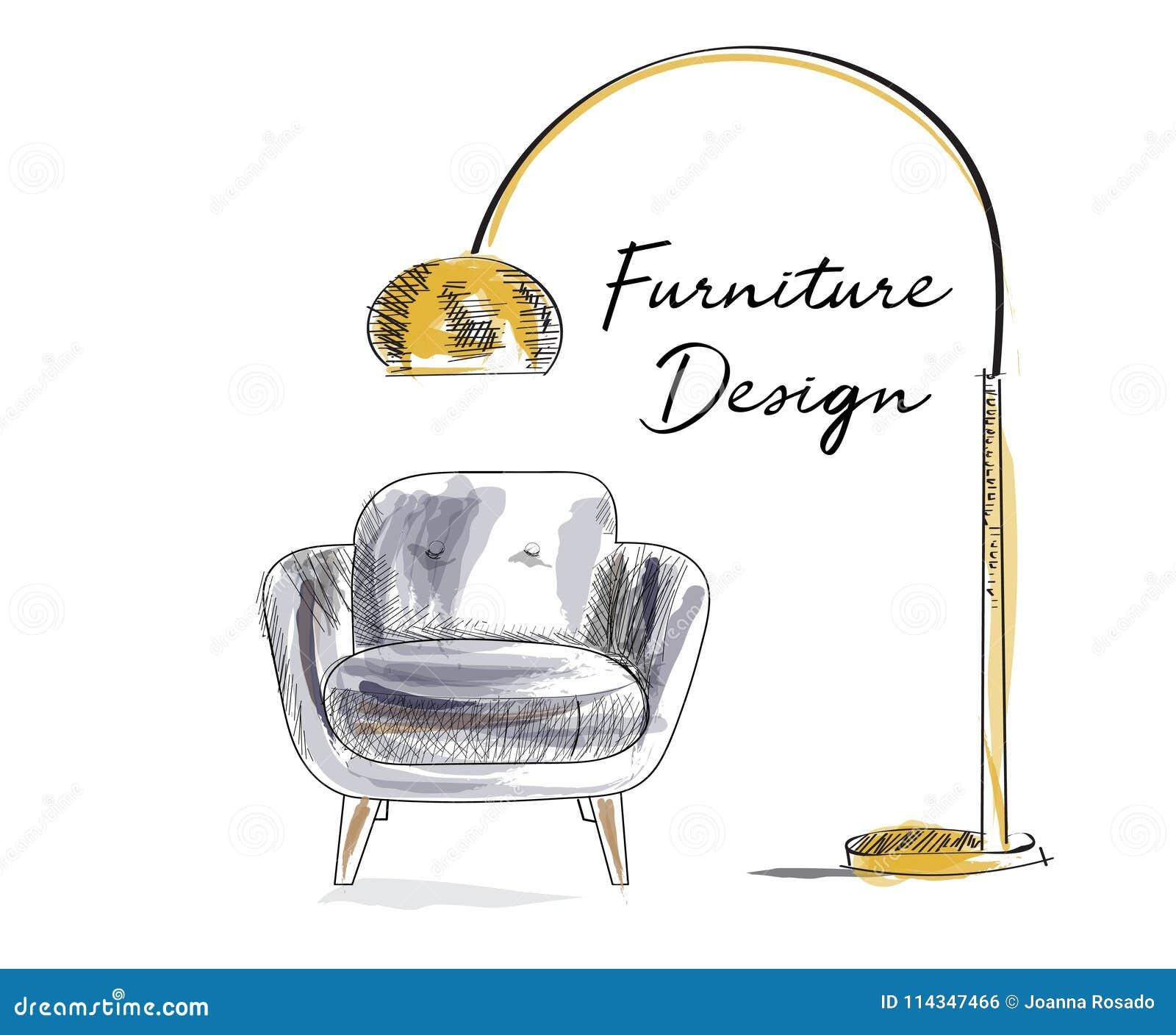 Lehnsesselskizze Hand Gezeichneter Stuhl Vektormöbelillustration Moderne  Innenarchitektur Der Mitte Des Jahrhunderts