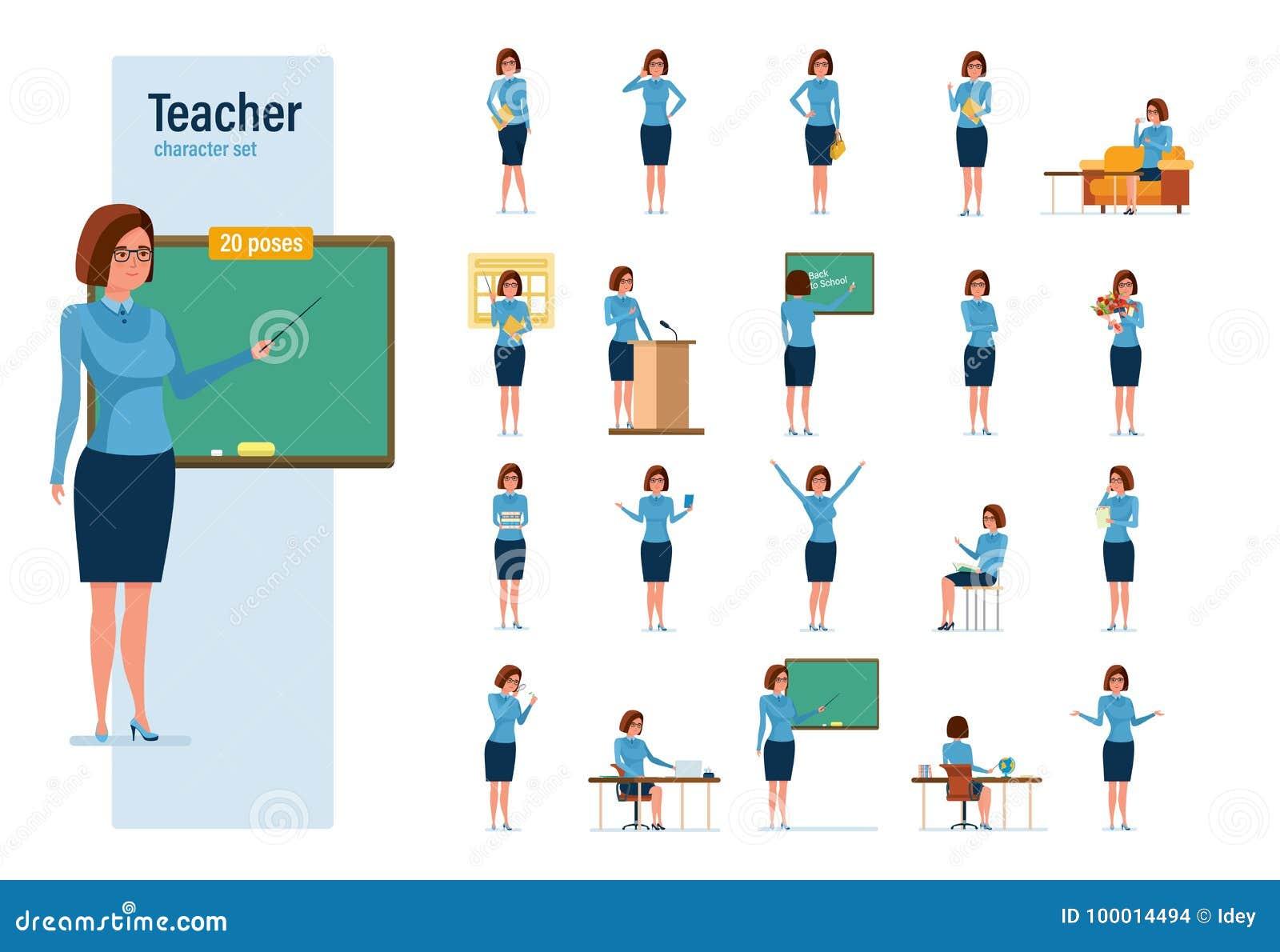 Lehrerzeichensatz Junger Lehrer In Den Verschiedenen Situationen Und ...