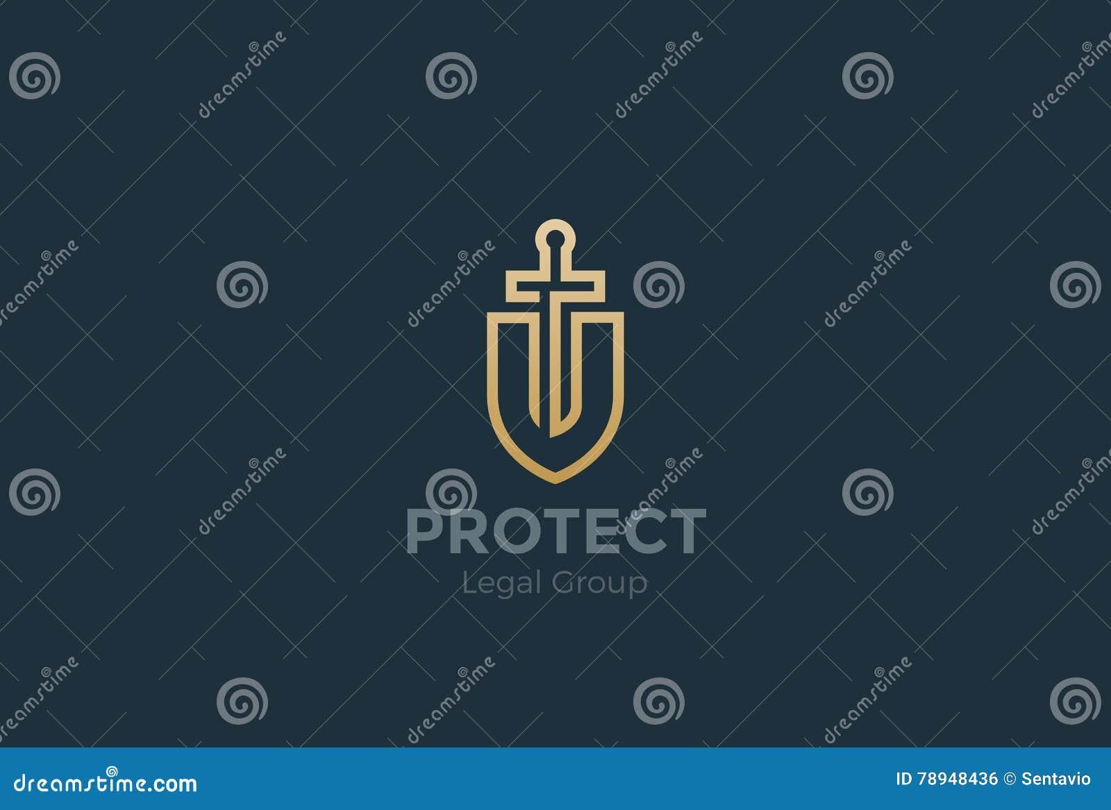 Lei de espada do protetor do vetor de Logo do advogado do advogado legal