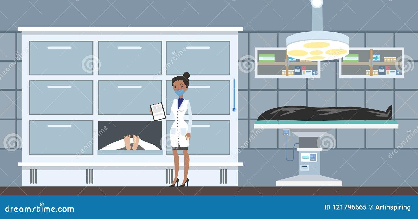 Leichenschauhausinnenraum mit Leichen