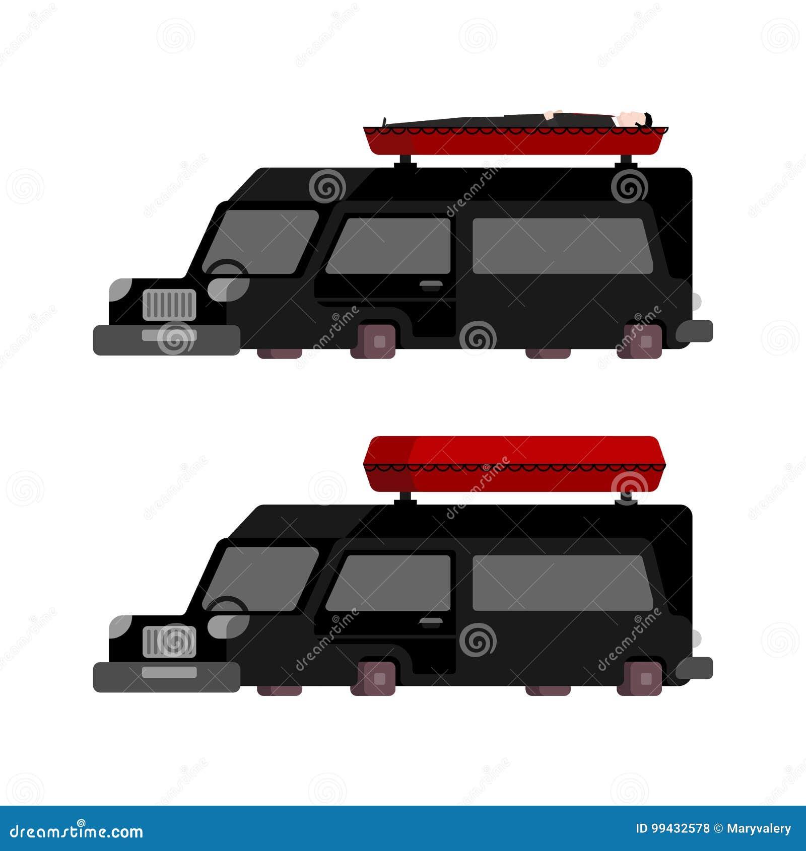 Leichenwagen Und Sargkarikaturart Vektorillustration Des Begrabnis