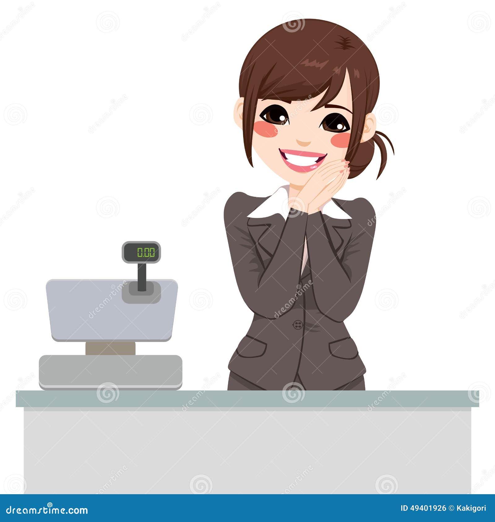 Download Leichter Kassierer Woman vektor abbildung. Illustration von zahlen - 49401926
