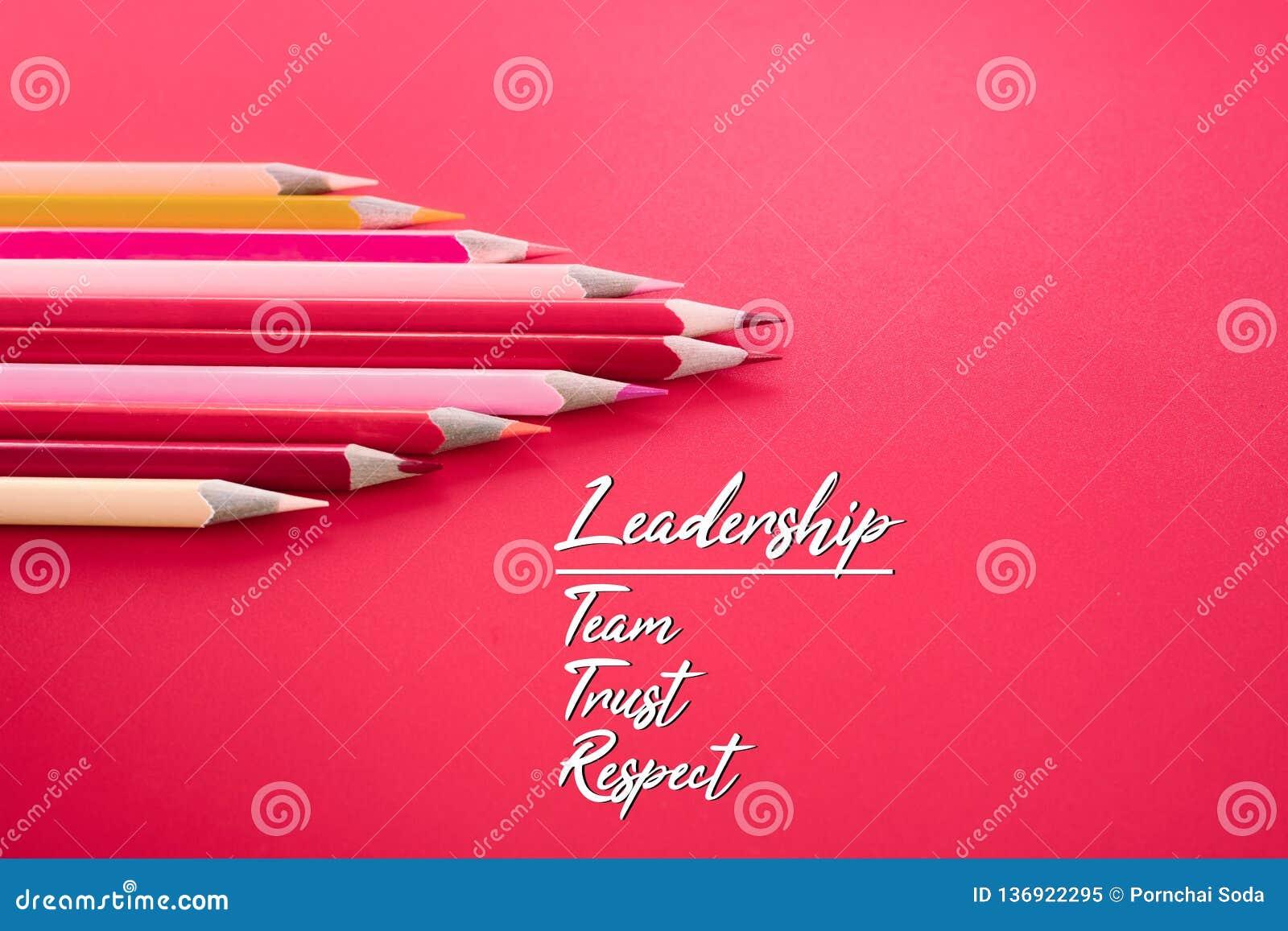 Leidings bedrijfsconcept het rode kleurenpotlood leidt andere kleur met woordleiding, team, vertrouwen en eerbied op roze achterg
