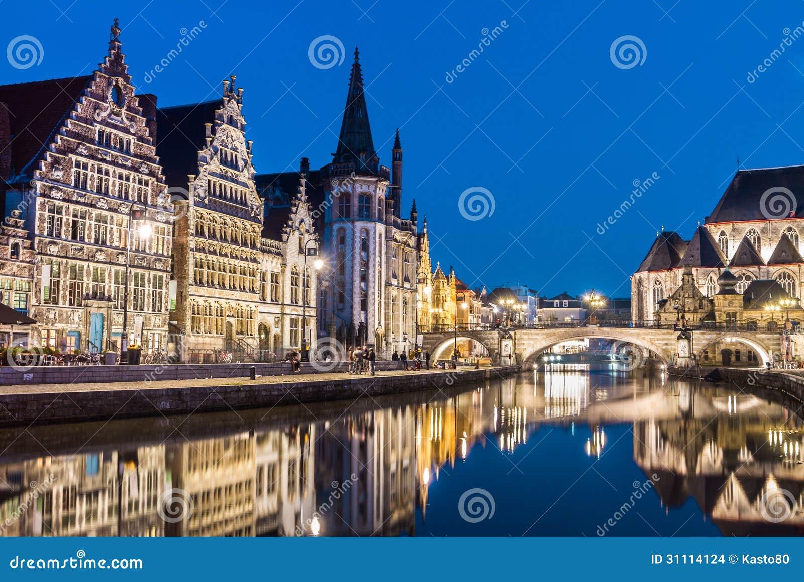 Leie river bank in Ghent, Belgium, Europe.