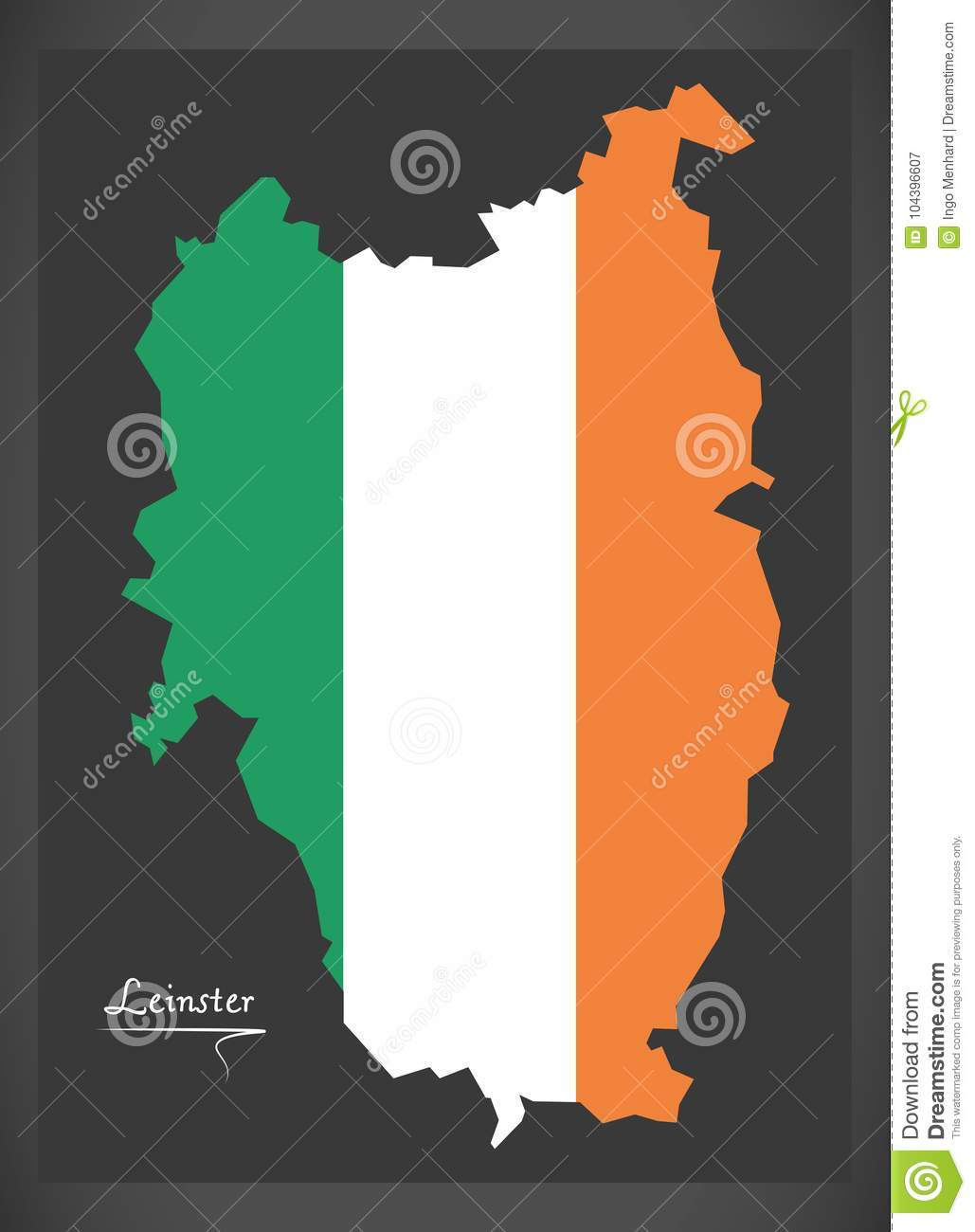 Map Of Ireland Leinster.Leinster Map Of Ireland With Irish National Flag Illustration Stock