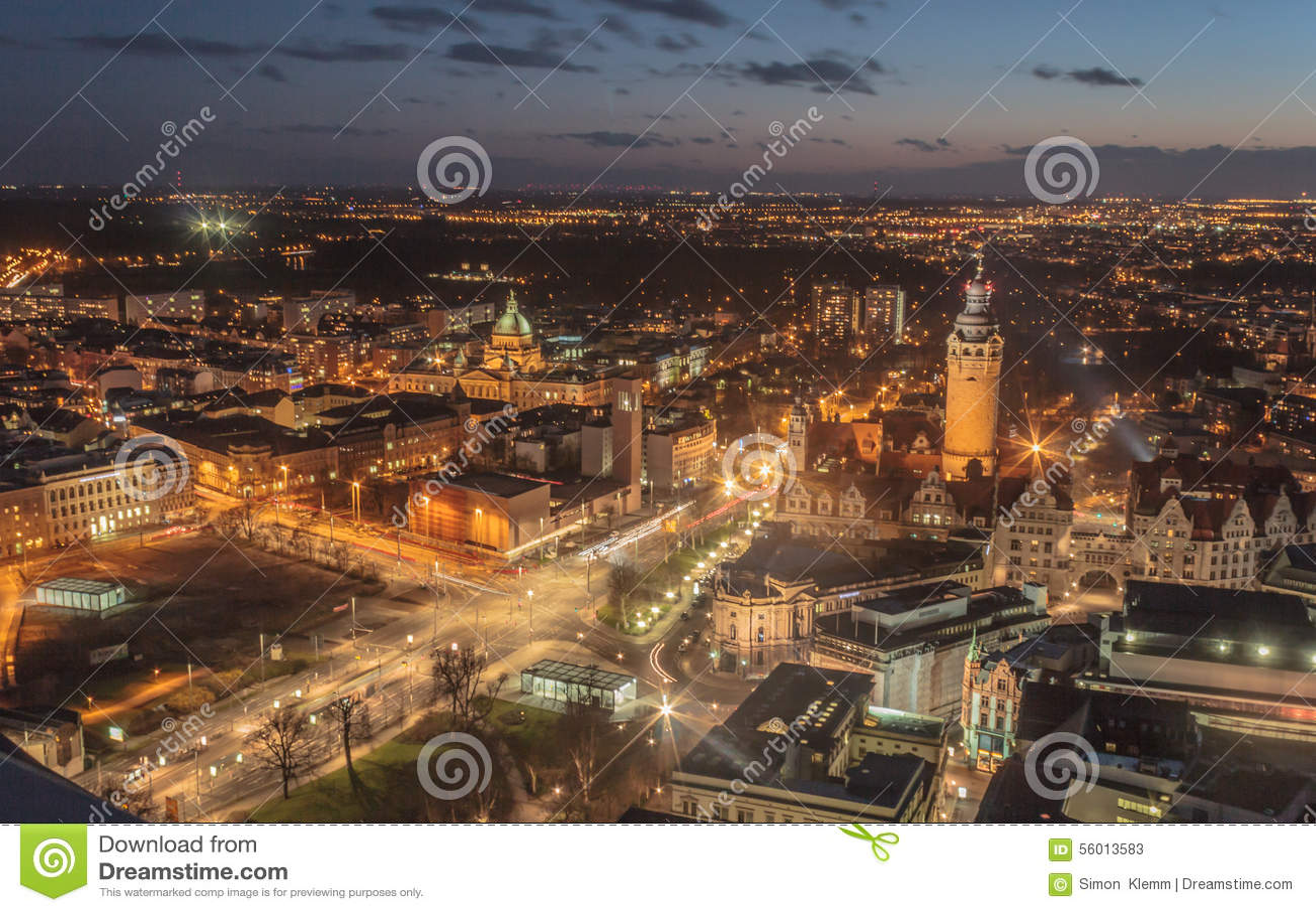 Leipzig stad i natten