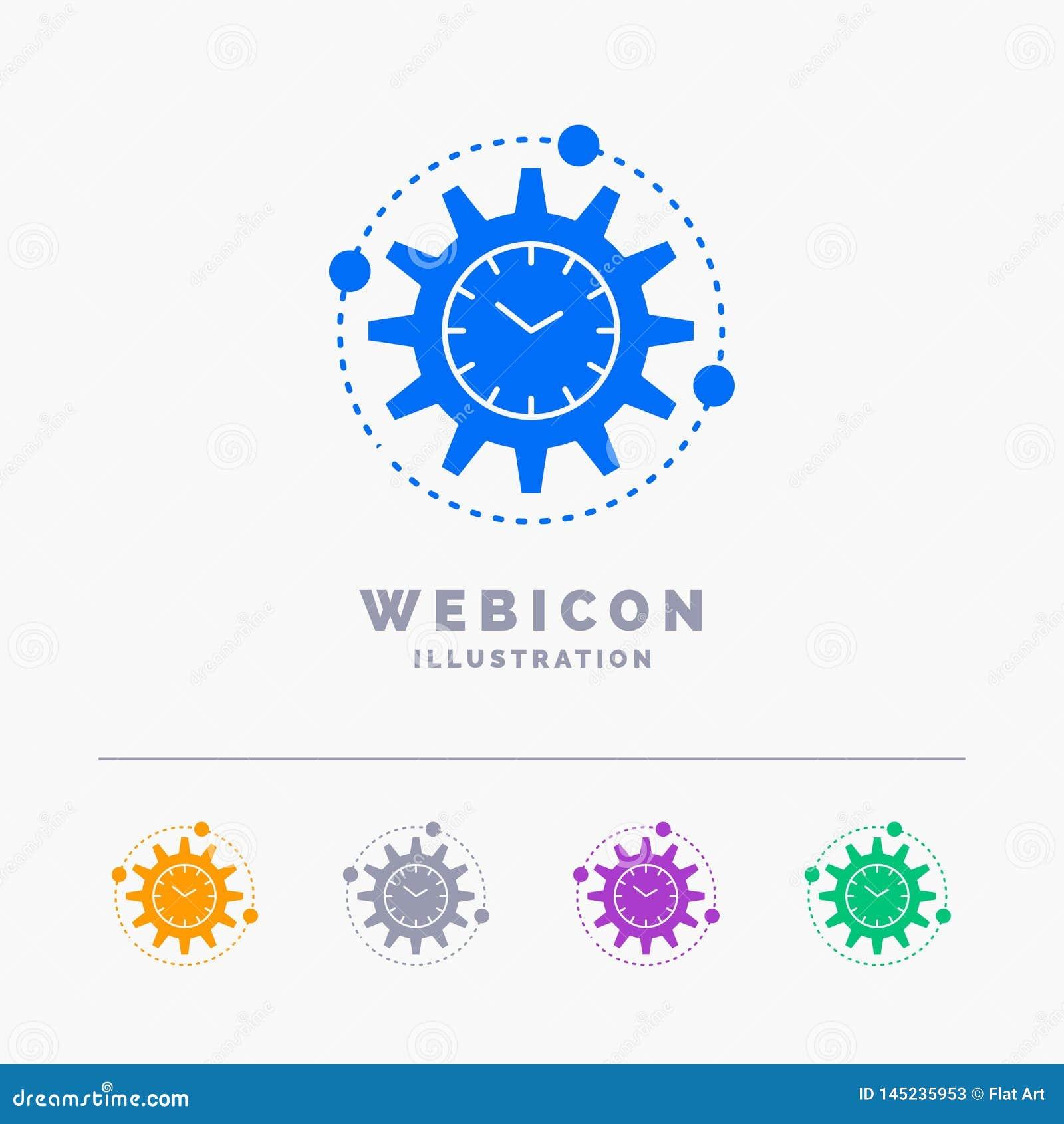 Leistungsfähigkeit, Management, verarbeitend, Produktivität, Projekt 5 Farbeglyph-Netz-Ikonen-Schablone lokalisiert auf Weiß Auch