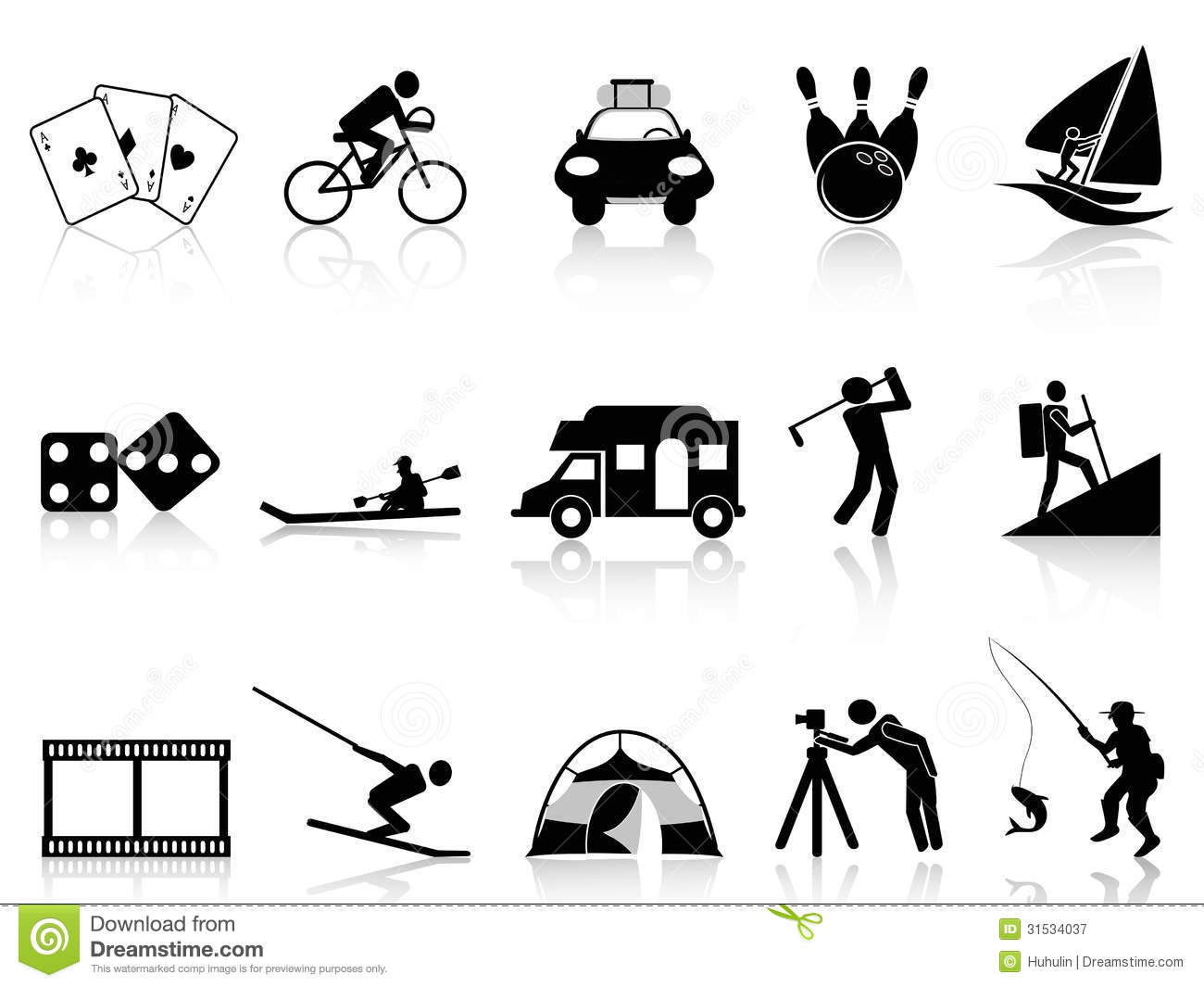 Leisure And Recreation Icons Set Stock Vector