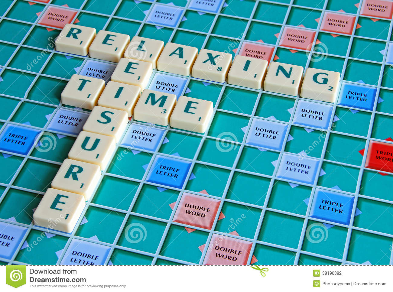 Photo of board game spelling out leisure time and gaming activities.