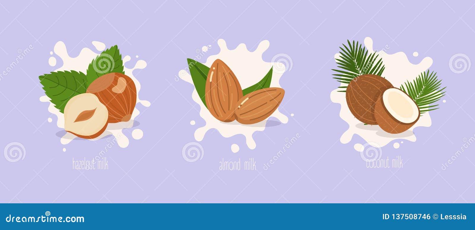 Leite da amêndoa, da avelã e de coco Respingo do leite Ilustração do vetor