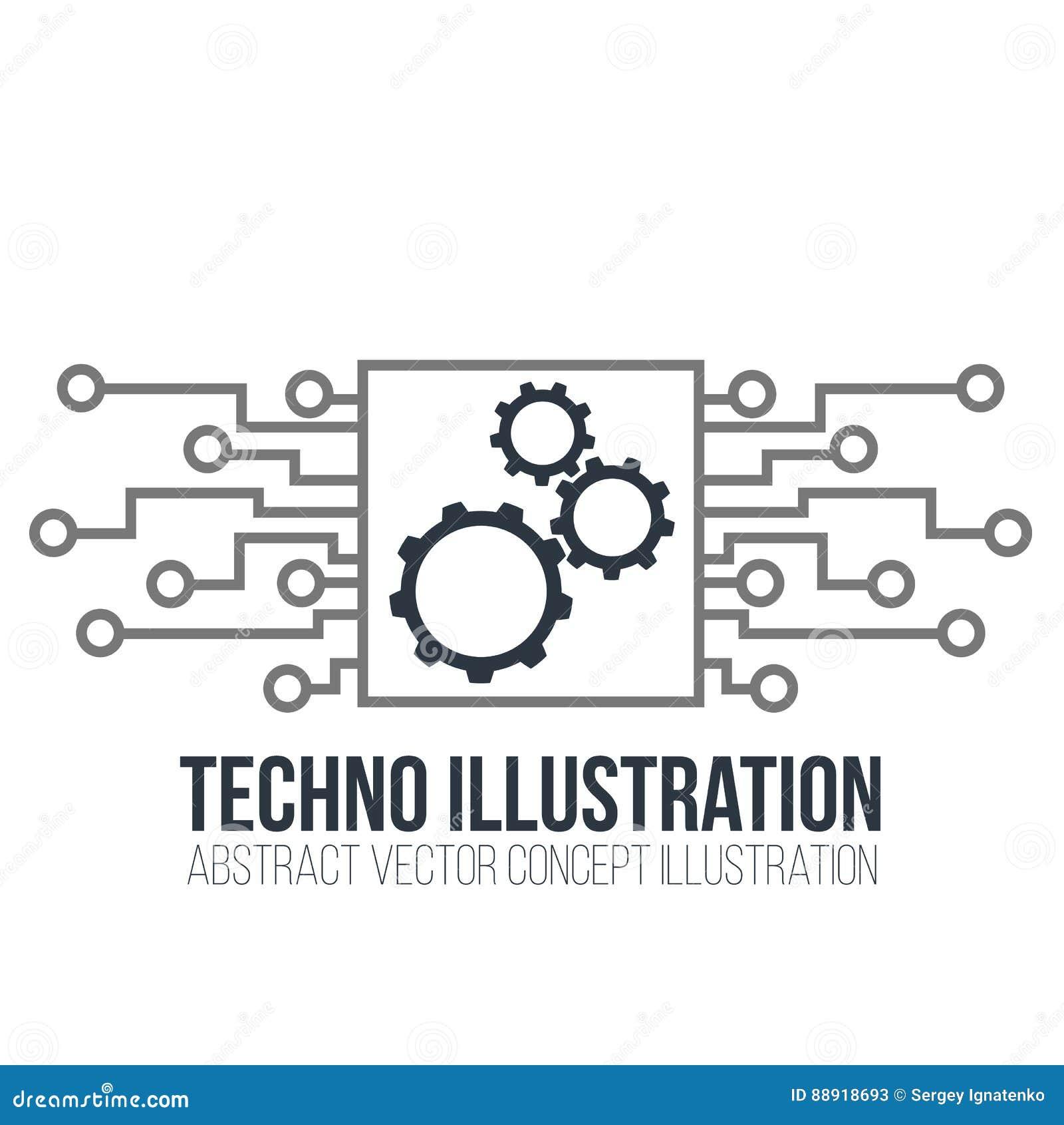 Leiterplattevektor auf weißem Hintergrund Gänge, Technik und Technologie, Motherboard und Computer entwerfen, Illustration