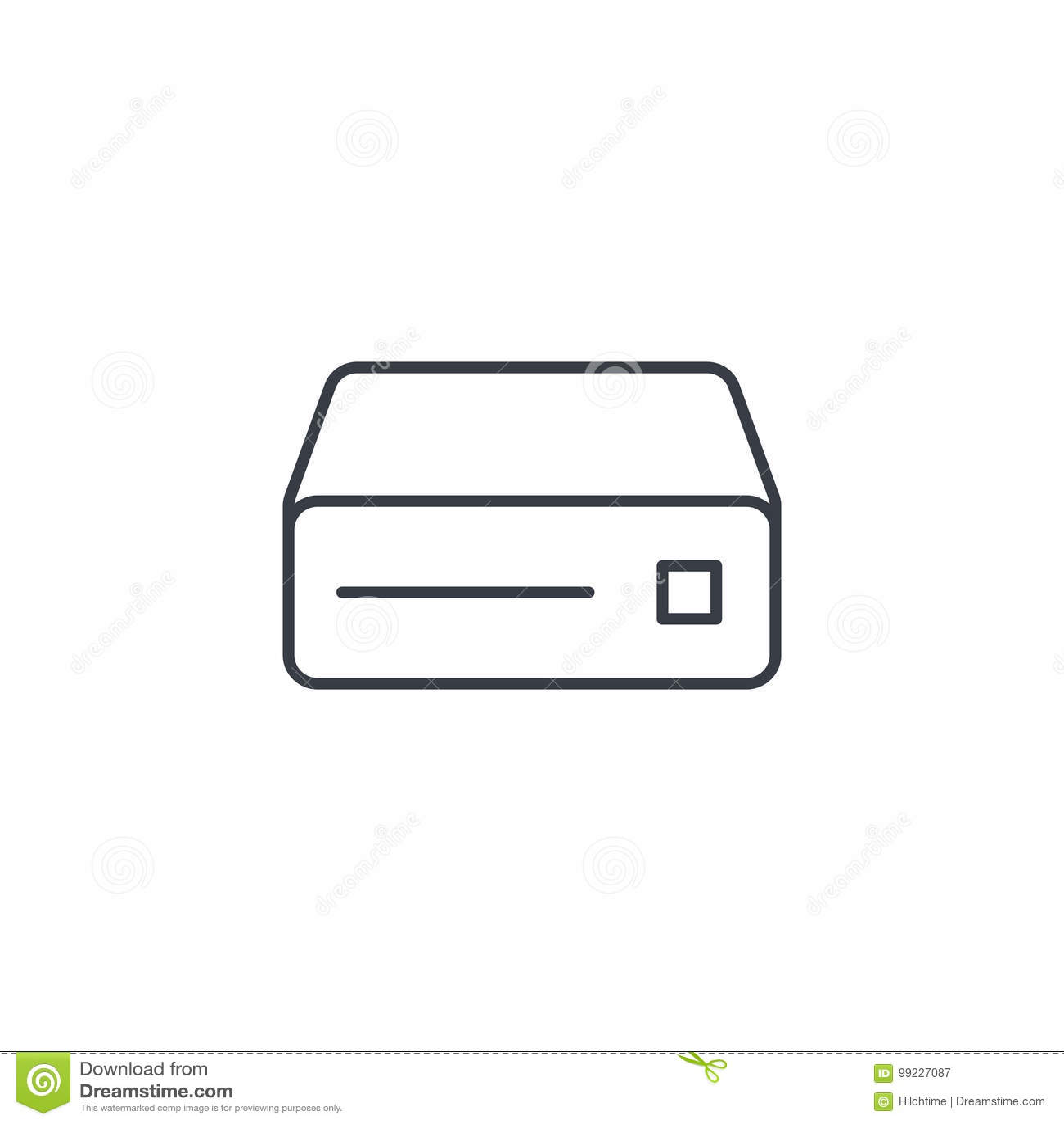 Leitor de cd, console, DVD, CD-ROM linha fina ícone Símbolo linear do vetor