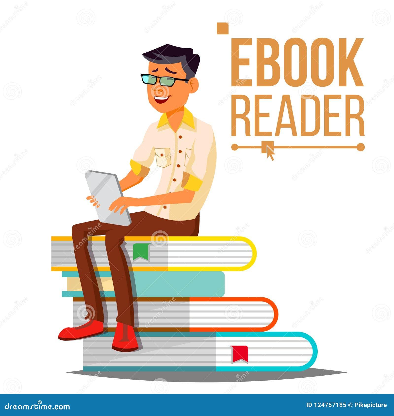 Leitor Vetora de EBook Homem Educação contemporânea Pilha de livros Livro de texto tradicional CONTRA Ebook Desenhos animados lis