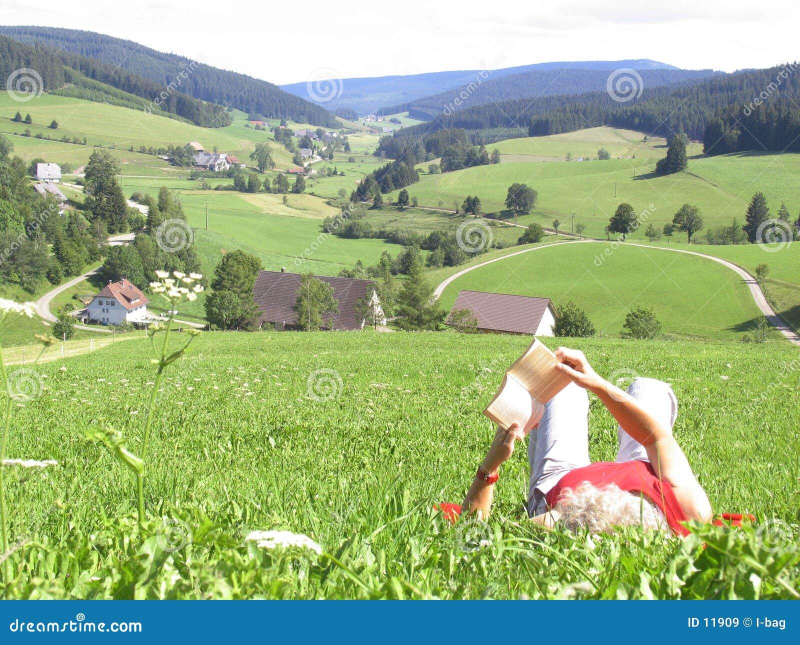 Leitura da mulher na grama