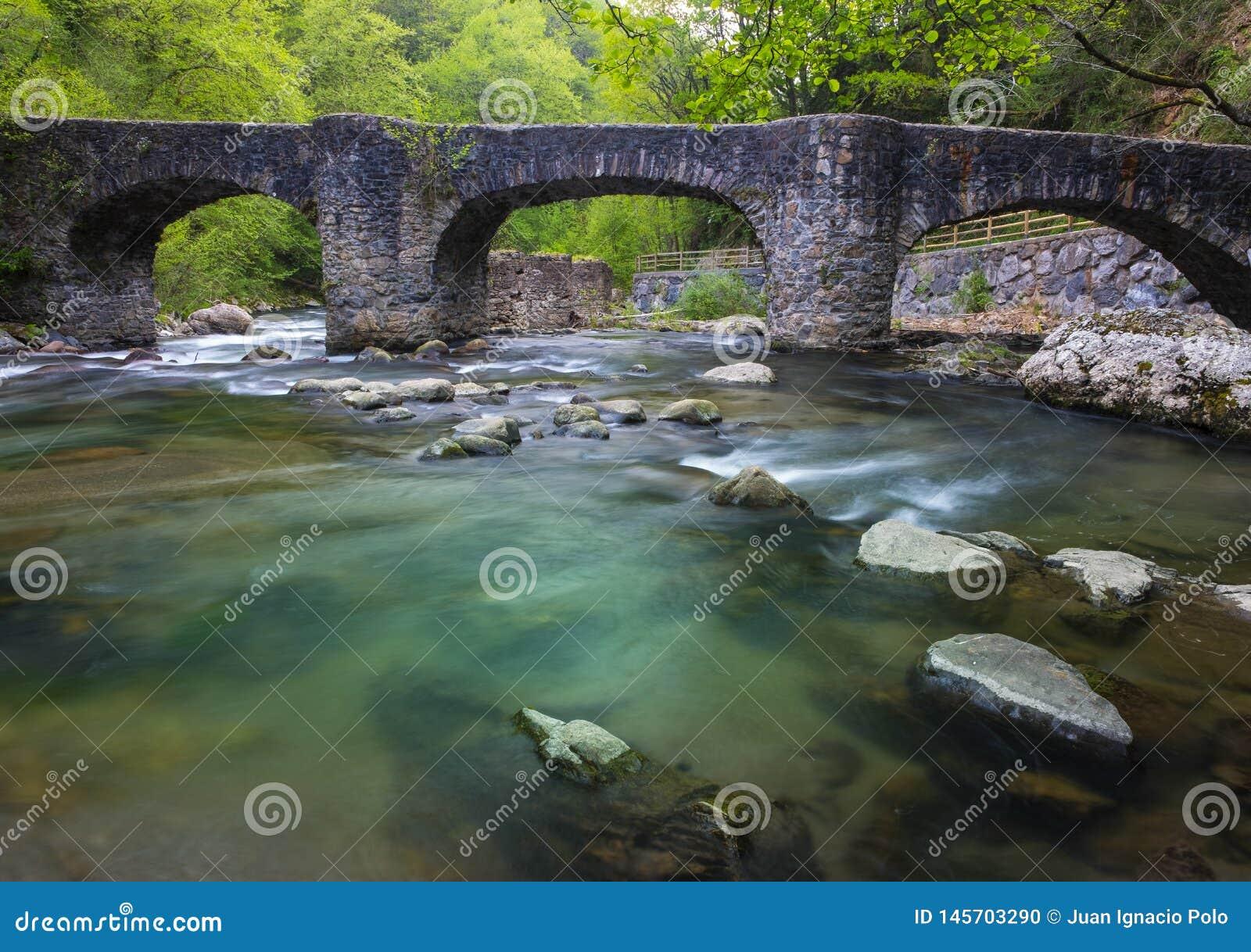 Leizaran-Flussfl?sse zwischen die Felsen unter eine alte Br?cke in Andoain