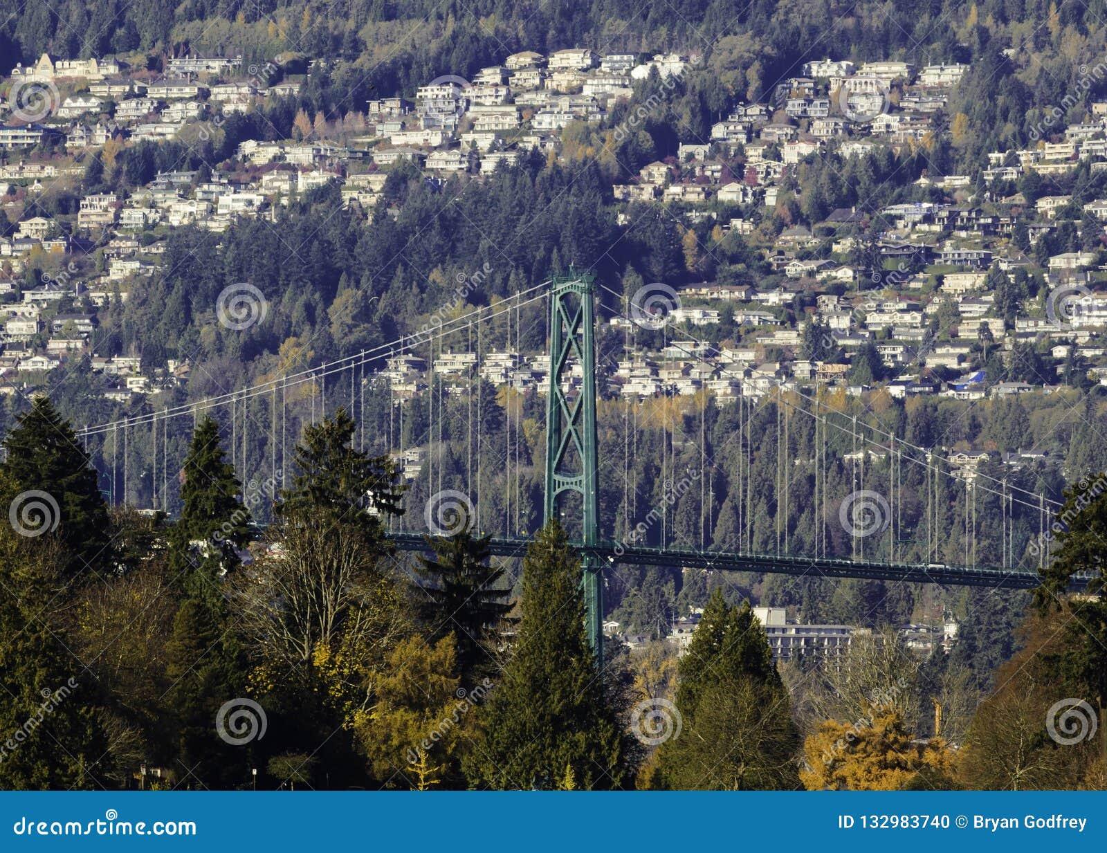 Lejonportbro mellan Stanley Park och västra Vancouver