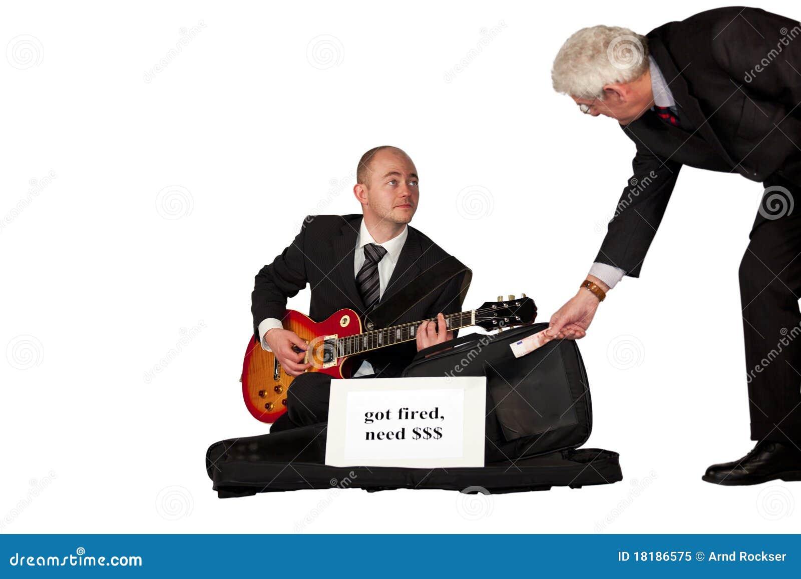 Leka arbetslös för gitarrpengar