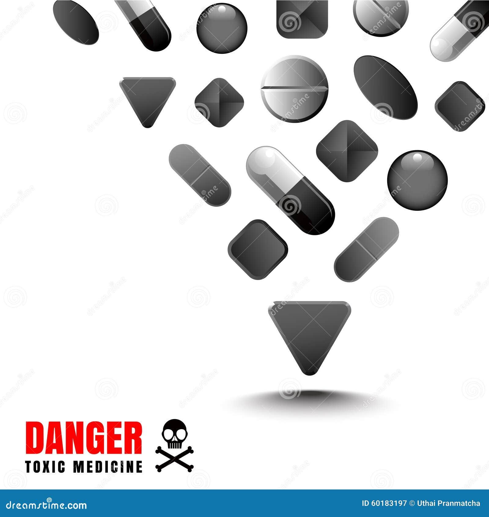 Leka czerni kolor reprezentuje toksyczny i niebezpiecznego