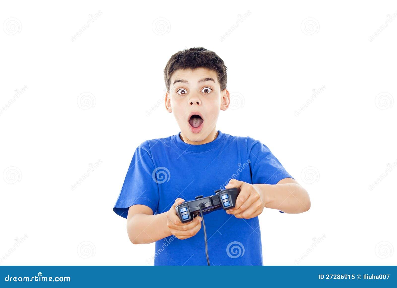 Leka dataspelar för härlig pojke